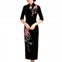 Mandarin Collar Chinese Traditional Dress Qipao Velvet Cocktail Dress Cheongsam