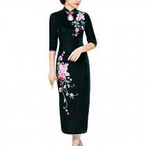 Thin Velvet Cocktail Dress Chinese Dress Oriental Dress Party Dress Cheongsam