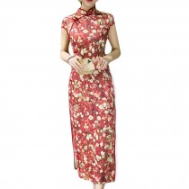 Red Dress Bodycon Long Dress Mandarin Collar Cheongsam Chinese Traditional Dress