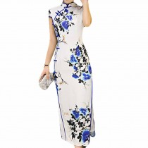 Retro Oriental Dress Blue and White Porcelain Cheongsam Dress Cocktail Dress