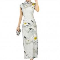 Long Cheongsam Dress Chinese Dress Flora Bodycon Cocktail Dress Qipao Dress