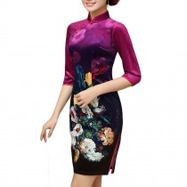 Thin Velvet Cocktail Dress Chinese Traditional Dress Printed Flora Evening Dress
