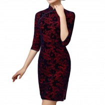Jacquard Short Cheongsam Dress Retro Oriental Dress Chinese Traditional Dress