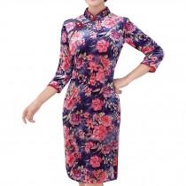 Mandarin Collar Flora Cheongsam Velvet Dress Bodycon Qipao Short Chinese Dress