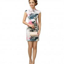 Women Chinese Flowers Pattern Cheongsam Qipao One Piece Dress(Large)