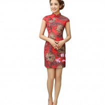 Women Chinese Flowers Pattern Cheongsam Qipao One Piece Dress(Red,Large)