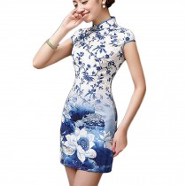 Women Chinese Lotus Pattern Cheongsam Qipao One Piece Dress(Large)