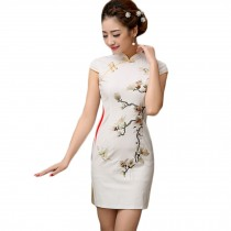 Women Chinese Magnolia Embroidery Cheongsam Qipao One Piece Dress(Large)