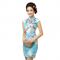 Elegant Slim Chinese Cheongsam Qipao One Piece Short Dress(Large)