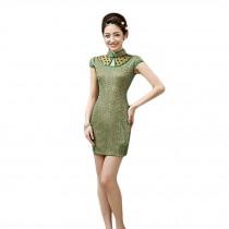 Elegant Slim Lace Cheongsam Qipao One Piece Short Dress Skirt(Green,Large)