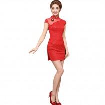Elegant Slim Cheongsam Traditional Wedding Dress Cheongsam(Red,Large)