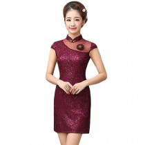 Elegant Slim Cheongsam Traditional Wedding Dress Cheongsam(Wine Red,Large)