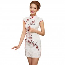 Elegant Slim Cheongsam Short Sleeve Cheongsam Qipao(Red Flowers,Large)
