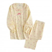 [Yellow Bowknot] Cotton Maternity Pajamas Set Nightwear Breastfeeding Pajamas