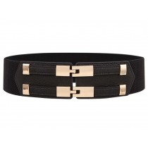 Simple Double Buckle Women Girls Corset Belt Waist Belt, BLACK