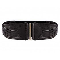 BLACK Retro Leather Wide Apparel Belts Cinch Belt Waistband