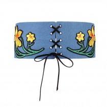Waist Band Lace-up Wide Waistband Corset Belt Obi Belts Applique Denim Belts