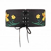 Applique Denim Belts Waist Band Lace-up Wide Waistband Corset Belt Obi Belts