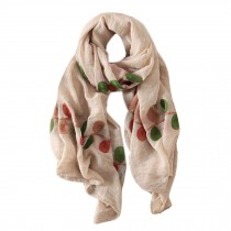 Lightweight Soft Scarf/Fashion Shawl for Lady/Embroidery Scarf,Leaves,Off-white