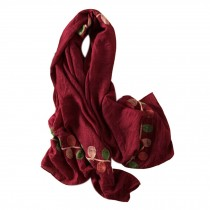 Lightweight Soft Scarf/Fashion Shawl for Lady/Embroidery Scarf,Leaves,Date Red