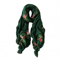 Lightweight Soft Scarf/Fashion Shawl for Lady/Embroidery Scarf,Leaves,Deep Green
