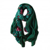 Fashion Shawl for Lady/Lightweight Soft Scarf/Embroidery Scarf,Floral,Turquoise