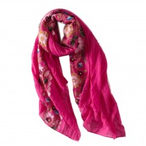 Fashion Shawl for Lady/Lightweight Soft Scarf/Embroidery Scarf,Floral,Rose Red