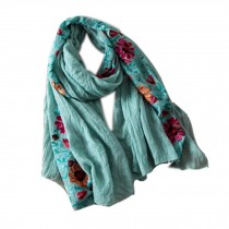 Fashion Shawl for Lady/Lightweight Soft Scarf/Embroidery Scarf,Floral, Aqua