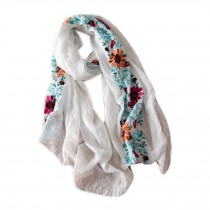 Fashion Shawl for Lady/Lightweight Soft Scarf/Embroidery Scarf,Floral, Cream