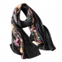 Fashion Shawl for Lady/Lightweight Soft Scarf/Embroidery Scarf,Floral, GREY