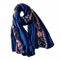 Fashion Shawl for Lady/Lightweight Soft Scarf/Embroidery Scarf,Floral, BLUE