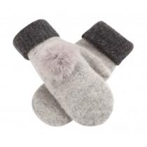 Wool Knit Gloves Lovely Warm Full-Finger Winter Gloves Womens Mitten,Light Grey
