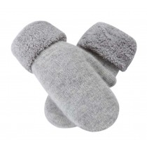 Woollen Mitten Lovely Women's Winter Gloves Warm Fingerless Gloves, Light Grey