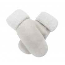 Warm Fingerless Gloves Woollen Mitten Lovely Winter Gloves for Girls,WHITE
