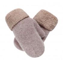 Warm Fingerless Gloves Woollen Mitten Lovely Winter Gloves for Girls,KHAKI