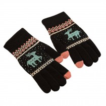 Winter Student Wool Gloves/Lovely Knitted Mittens/Telefingers Gloves/BLACK