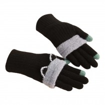 Winter Fashion Gloves/Knitted Woolen Gloves for Girls/Cute Cartoon Gloves/BLACK