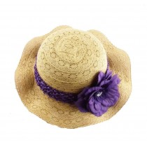 Fashion Girls Khaki Straw Hat with Flower