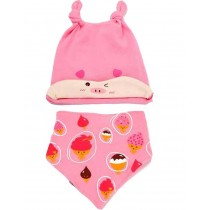 Cute New Born Baby Girls Pink Piggy Cap & Bib