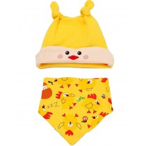 Cute New Born Baby Yellow Chick Cap & Bib