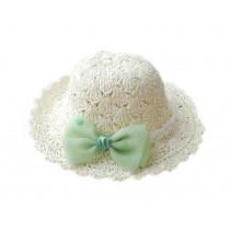 Crochet Green Bow Knot White Straw Hat for Toddler Girls