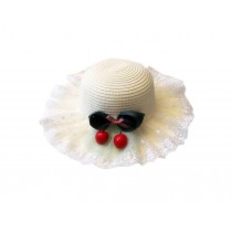 Little Girls White Lace Cherry Straw Hat