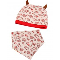 Little Monster Beige Patterned Baby Cap & Bib