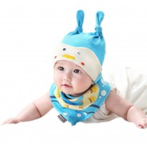 Cute New Born Baby Boy Blue Duck Cap & Bib