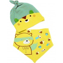 New Born Baby Boys Yellow Stripe Cap & Bib