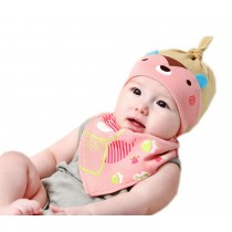 New Born Baby Grils Pink Stripe Sleeping Beanie & Bib