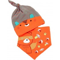 New Born Babys Orange Bear Sleeping Beanie & Bib