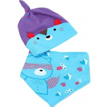 New Born Babys Blue Stripe Sleeping Beanie & Bib