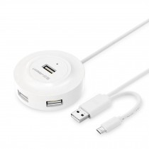 White USB 2.0 Hub 4-Port with OTG Multi-funtion Adapter Hub 80cm Cable