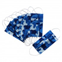 10 PCS Thicken and Breathable Adult Disposable Masks, Blue Camouflage Style